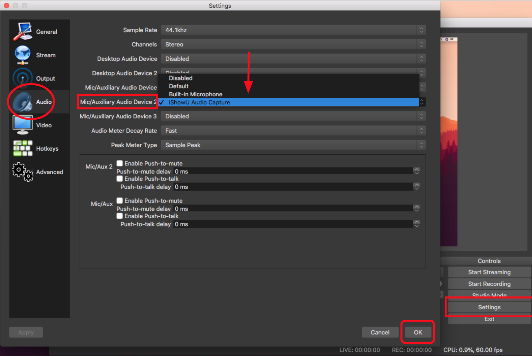 Image of OBS settings, selecting iShowU