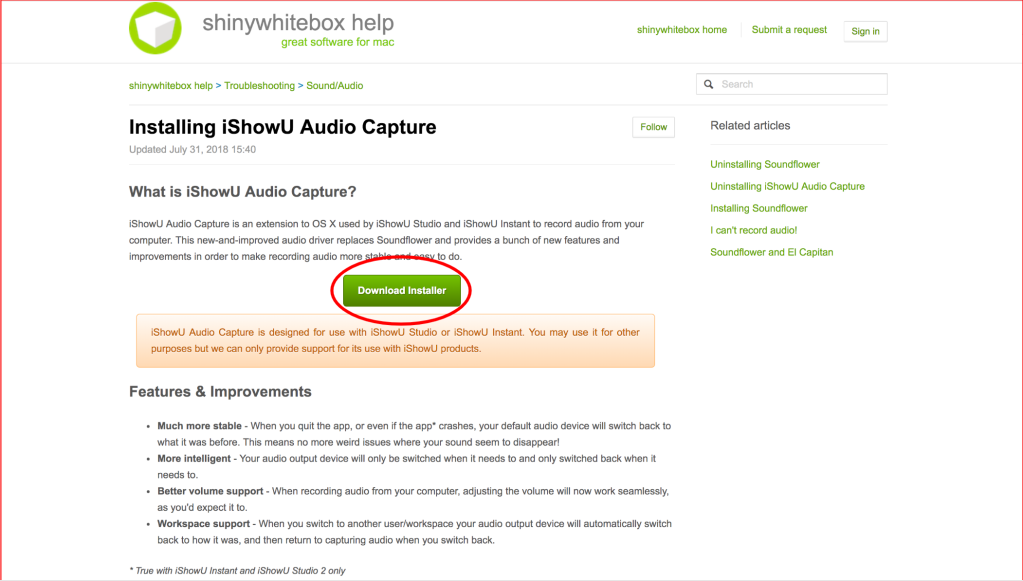 Image of the Website to download iShowU Audio Capture