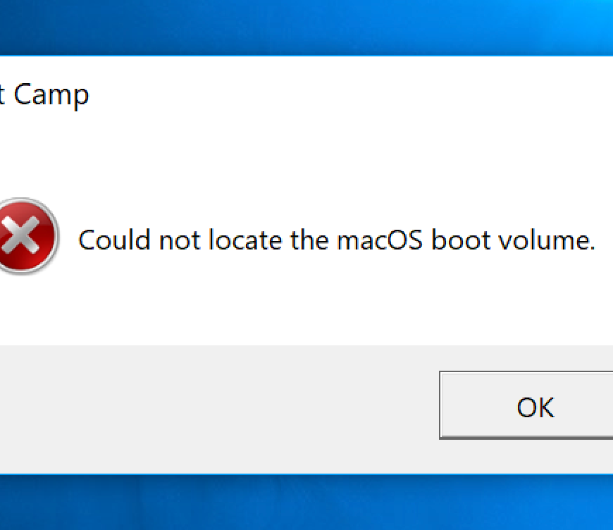 "Image of ""Could not locate the macOS boot volume"" error"